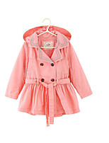 Girl's Casual/Daily Solid Trench CoatCotton Spring / Fall Pink