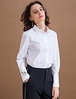 Chemise Femme,Broderie Habillées simple Automne Manches Longues Col de Chemise Blanc Coton / Polyester Moyen