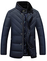 Men's Down Coat,Simple Casual/Daily Solid-Polyester White Duck Down Long Sleeve Stand Black