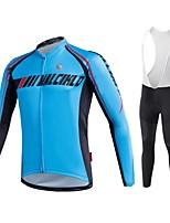MALCIKLO® Fahrradtrikot mit Trägerhosen Herrn Langärmelige FahhradAtmungsaktiv / Rasche Trocknung / Reißverschluß vorne / tragbar / Hohe