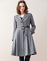 ARKMIIDO Women's Going out Simple CoatSolid Notch Lapel Long Sleeve Winter Gray Acrylic / Polyester Medium