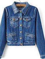 Vestes en Jean Femme,Broderie Sortie Vintage Manches Longues Col de Chemise Bleu Polyester Moyen Automne