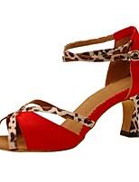 Chaussures de danse(Rose / Rouge) -Personnalisables-Talon Personnalisé-Satin-Latine / Jazz / Salsa / Chaussures de Swing