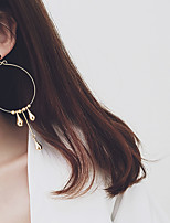 18K Gold Circle Simple Personality Fashion Hoop Dangle Drop Earrings