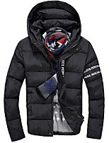 Men's Regular Padded Coat,Simple Casual/Daily Solid-Polyester Cotton Long Sleeve Black