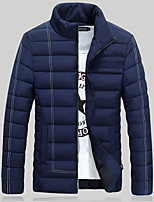 Men's Padded Coat,Street chic Plus Size Solid-Polyester Polypropylene Long Sleeve Stand Blue / White / Black / Green