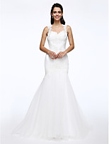 Lanting Bride® Wijd uitlopend Bruidsjurk Hofsleep Queen Anne Kant / Tule met Appliqués / Kralen / Parel