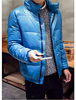 Men's Down Coat,Simple Plus Size / Casual/Daily Solid-Cotton White Duck Down Long Sleeve Blue / Green