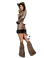 Cosplay Costumes Animal Cheetah Halloween Brown / Black Print Cotton Dress