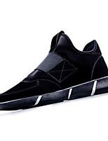 Women's Sneakers Spring Fall Comfort PU Casual Athletic Flat Heel Hook & Loop Black Red