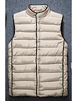 Men's Down Coat,Simple Casual/Daily Solid-Cotton Without Filling Material Sleeveless Round Neck Black / Gray / Yellow