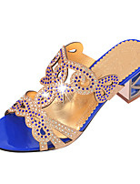 Women's Sandals Summer  Glitter Casual Chunky Heel Sparkling Glitter Black / Blue / Royal Blue Walking