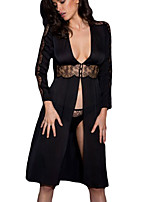 Women Black Lace Trim Silky Chiffon Gown with Thong