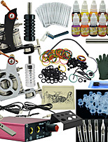 Ophir Complete Tattoo Kit 2 Machine Power Supply Ink Needle Set 12 ColourNEW 2 Machine Tattoo Kit Motor Guns Equipment 12 Ink Set Tatoo Comp