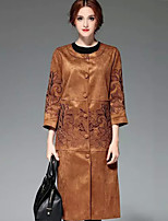 PROVERB Women's Casual/Daily Chinoiserie CoatEmbroidered  Sleeve Fall / Winter Red / Brown / Green Special Leather Types