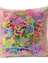 Polyester Decorative Cushion Pillow Cover Print Skull Sofa Home Decor 45x45cm
