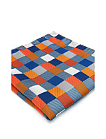 Mens Pocket Square Handkerchief Orange Checked Hanky For Men Business