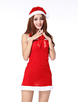 Cosplay Costumes Santa Suits Movie Cosplay Red Solid Dress / Hats Christmas Female Spandex