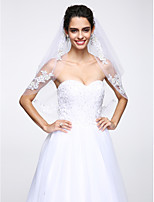 Wedding Veil Two-tier Elbow Veils Lace Applique Edge / Beaded Edge Net White