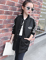 Girl's Casual/Daily Solid Trench CoatCotton Spring / Fall Black / White