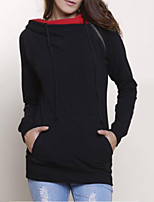 Women's Casual/Daily Simple / Active Regular Hoodies,Color Block Black Hooded Long Sleeve Cotton Fall / Winter Thick Micro-elastic