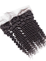 4x13 Fermeture Ondulation profonde Cheveux humains Fermeture Brun roux Dentelle Suisse about 50g gramme Moyenne Cap Taille
