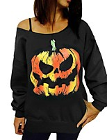 Women's Going out / Casual/Daily Simple / Street chic Regular HoodiesPrint Off-The-Shoulder Round Neck Long Sleeve Spring / Fall
