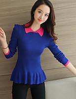 Feminino Padrão Pulôver,Casual Fofo Color Block Azul / Vermelho / Preto Colarinho de Camisa Manga Longa Poliéster Outono / Inverno Média