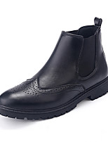 Men's Boots Fall Winter Comfort Leather Office & Career Party & Evening Casual Black Brown
