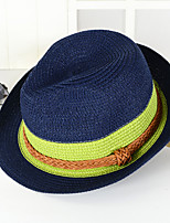Unisex Casual Twine Stitching Stripe Color Crimping Straw Beach Hat Sun Jazz Cap