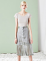 MASKED QUEEN Women's Solid Silver SkirtsVintage / Simple Knee-length