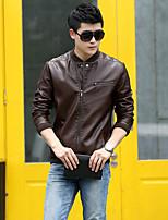 Мужчины Большие размеры Однотонный Кожаные куртки Воротник-стойка,Уличный стиль Осень Красный / Черный / Коричневый Длинный рукав,
