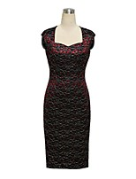 Women's Square Neck Plus Size Vintage Lace Short Sleeve Bodycon Pencil Dress