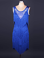 Latin Dance Dresses Performance Spandex / Lace Crystals/Rhinestones / Tassel(s) 1 Piece Sleeveless High Dress S-XXL: 80-85cm