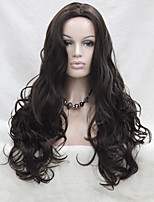 Fashion Sexy No Bangs Skin Top Chestnut Brown Long Wavy Synthetic Full Wig Cosplay