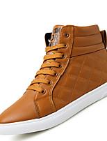 Черный / Коричневый / Темно-синий-Мужской-На каждый день-Синтетика-На плоской подошве-Удобная обувь-Кеды