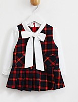 Girl's Casual/Daily Plaid Dress / BlouseCotton Spring / Fall Green / Red