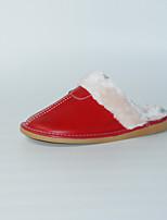 Красный-Женский-На каждый день-Полиуретан-На плоской подошве-Босоножки-Тапочки и Шлепанцы