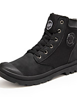 Men's Boots Fall Winter Comfort Leatherette Casual Flat Heel Lace-up Black Yellow Walking