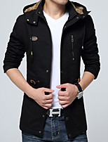 Men's Casual/Daily Vintage Trench CoatSolid Hooded Long Sleeve Fall / Winter Black / Brown  Cotton / Polyester Thick