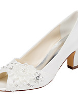 Women's Heels Spring Others Stretch Satin Wedding / Party & Evening / Dress Chunky Heel Crystal / Pearl Ivory / White Others