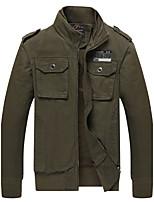 Veste Hommes,Couleur Pleine Décontracté / Quotidien Vintage Manches Longues Mao Noir / Marron / Vert Coton Epais Hiver