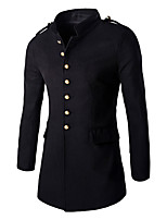 Men's Solid Casual / Work CoatCotton Long Sleeve-Black / Gray/hot sale/brand fashion