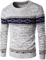 Для мужчин На выход На каждый день Праздник Простое Обычный Пуловер Контрастных цветов,Красный Черный Серый Круглый вырез Длинный рукав