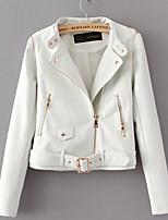 Женский На каждый день Однотонный Кожаные курткиПростое Зима Белый / Черный Длинный рукав,Полиуретановая