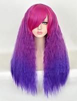 75см фиолетовый ломбера длинный кудрявый фигурных лохматые женщины синтетический парик моды лолита свободные вьющиеся естественные волосы