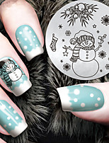 2016 Latest Version Fashion Christmas Snowman Pattern Nail Art Stamping Image Template Plates