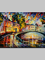 Hand Painted Knife City Landscape Oil Painting On Canvas Modern Wall Art Picture For Home Decoration Ready To Hang