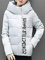 Women's Regular Padded CoatSimple Going out Letter-Polyester Polypropylene Long Sleeve Hooded Pink / Black / Gray