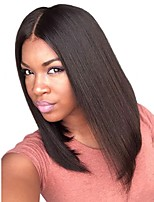 8 to 20 inches Brazilian Human Hair Yaki Straight Bob Style Wigs 4.5 Deep Part Glueless Lace Front Wigs For Black Women